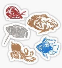Aquatic Creatures Block Prints Sticker