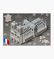 Isometric Infographic Notre Dame de Paris Photographic Print