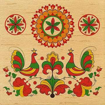 The stylization of the Russian North paintings on birch bark by Eevlada