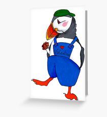 Shall I be your Valentine? Puffin illustration Greeting Card