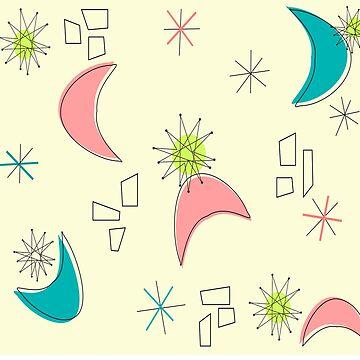Boomerangs and Starbursts Yellow by gailg1957