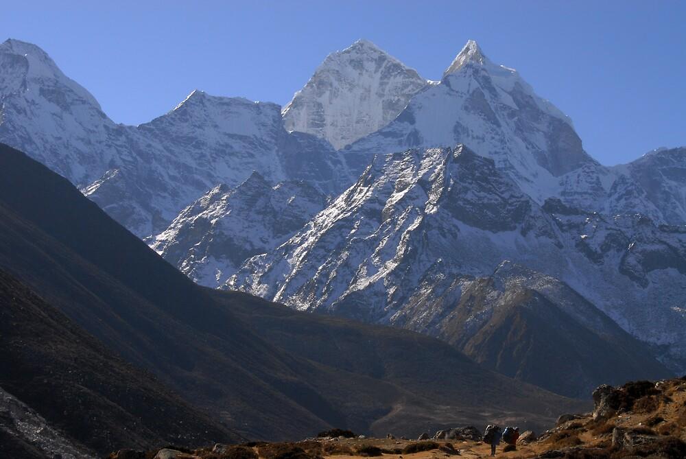 Everest trek - headed south from Pheriche to Namche Bazaar. by Richard  Stanley