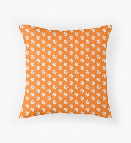 White Clover on Orange Retro Pattern Throw Pillow