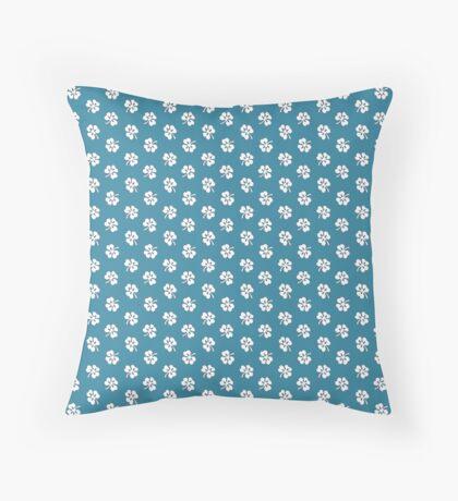 White Clover on Robins Egg Blue Retro Pattern Throw Pillow