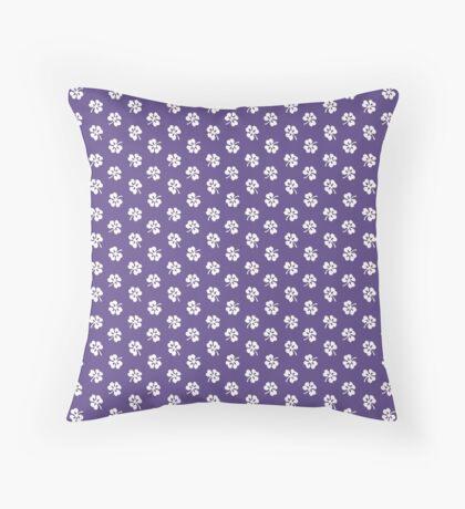 White Clover on Ultra Violet Retro Pattern Throw Pillow