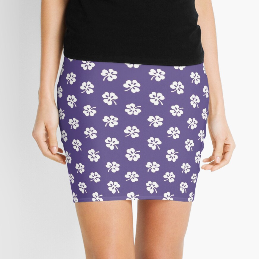 White Clover on Ultra Violet Retro Pattern Mini Skirt Front