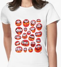 Japanese Daruma Characters Women's Fitted T-Shirt