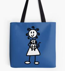 The girl with the curly hair - mid blue Tote Bag