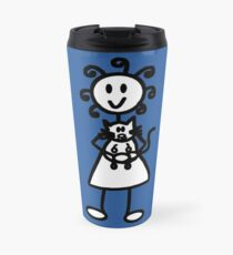 The girl with the curly hair - mid blue Travel Mug