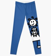 The girl with the curly hair - mid blue Leggings