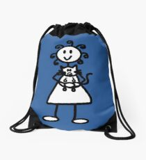 The girl with the curly hair - mid blue Drawstring Bag