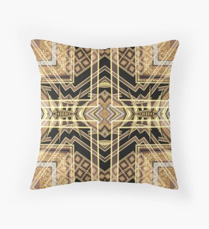 Black and Gold • Art Deco Fusion • Geometric Throw Pillow