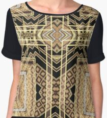 Black and Gold • Art Deco Fusion • Geometric Chiffon Top