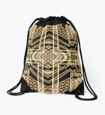Black and Gold • Art Deco Fusion • Geometric Drawstring Bag