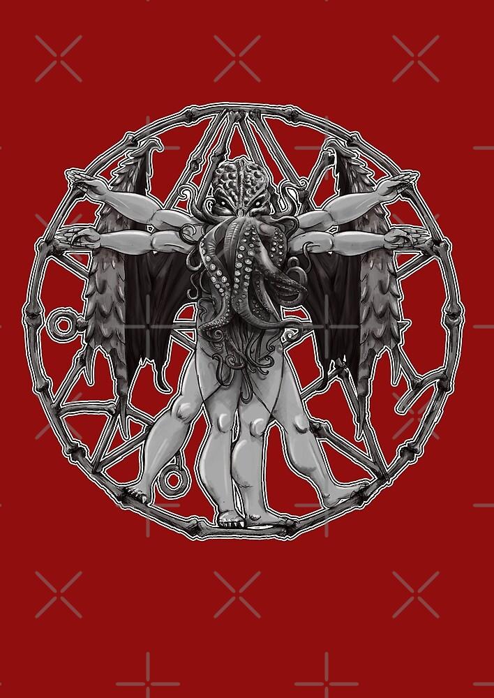 Vitruvian Cthulhu Ancient Lovecraft Mythos Symbol By Ice Tees