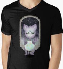 Mystic Miku   Crystal Ball & Zodiac   Black V-Neck T-Shirt
