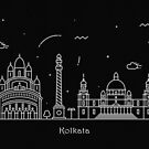 Kolkata Skyline Minimal Line Art Poster by A Deniz Akerman