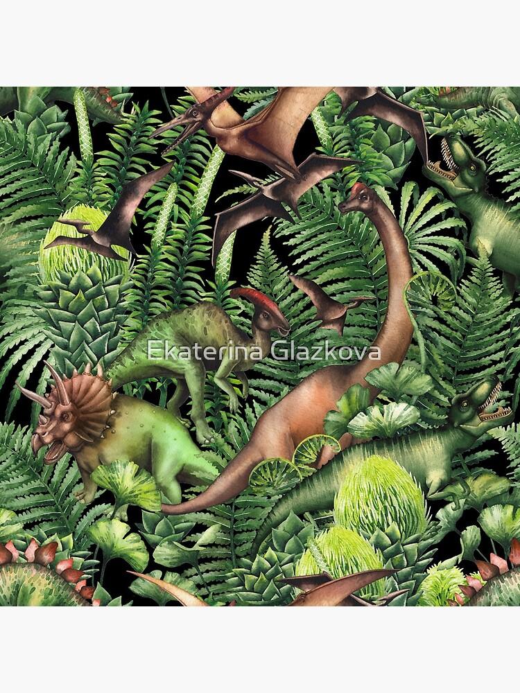 Watercolor dinosaurs and prehistoric plants by Glazkova