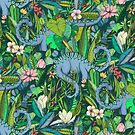 Improbable Botanical with Dinosaurs - dark green by micklyn