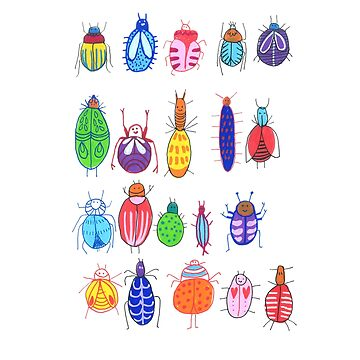 Cute Funny Insects Illustration by DoodlesAndStuff