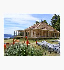 House under construction at Wilmot - with the beautiful Lake Barrington nearby Photographic Print