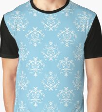 French Damask, Ornaments, Swirls - Blue White Graphic T-Shirt
