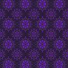 Folk Flower, Floral Arabesque Pattern, Violet Black by clipsocallipso
