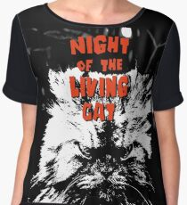 Night of the living cat Chiffon Top