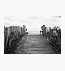 Wood Gate to the Beach Black and White Photo Photographic Print
