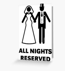 All Nights Reserved (Bride / Groom / Honeymoon / Black) Greeting Card