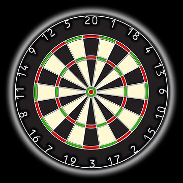 DARTS, Dart Board, Arrows, Target, Bulls eye, Pub, Game, on Black by TOMSREDBUBBLE