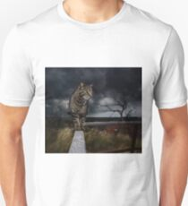 Cat walking the fence. Unisex T-Shirt