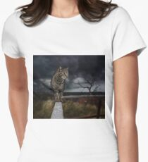 Cat walking the fence. Women's Fitted T-Shirt