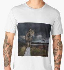 Cat walking the fence. Men's Premium T-Shirt