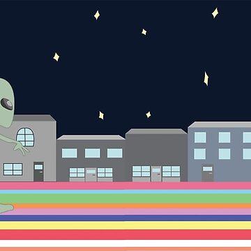 aliens running on rainbow road from UFO by izzysumardi