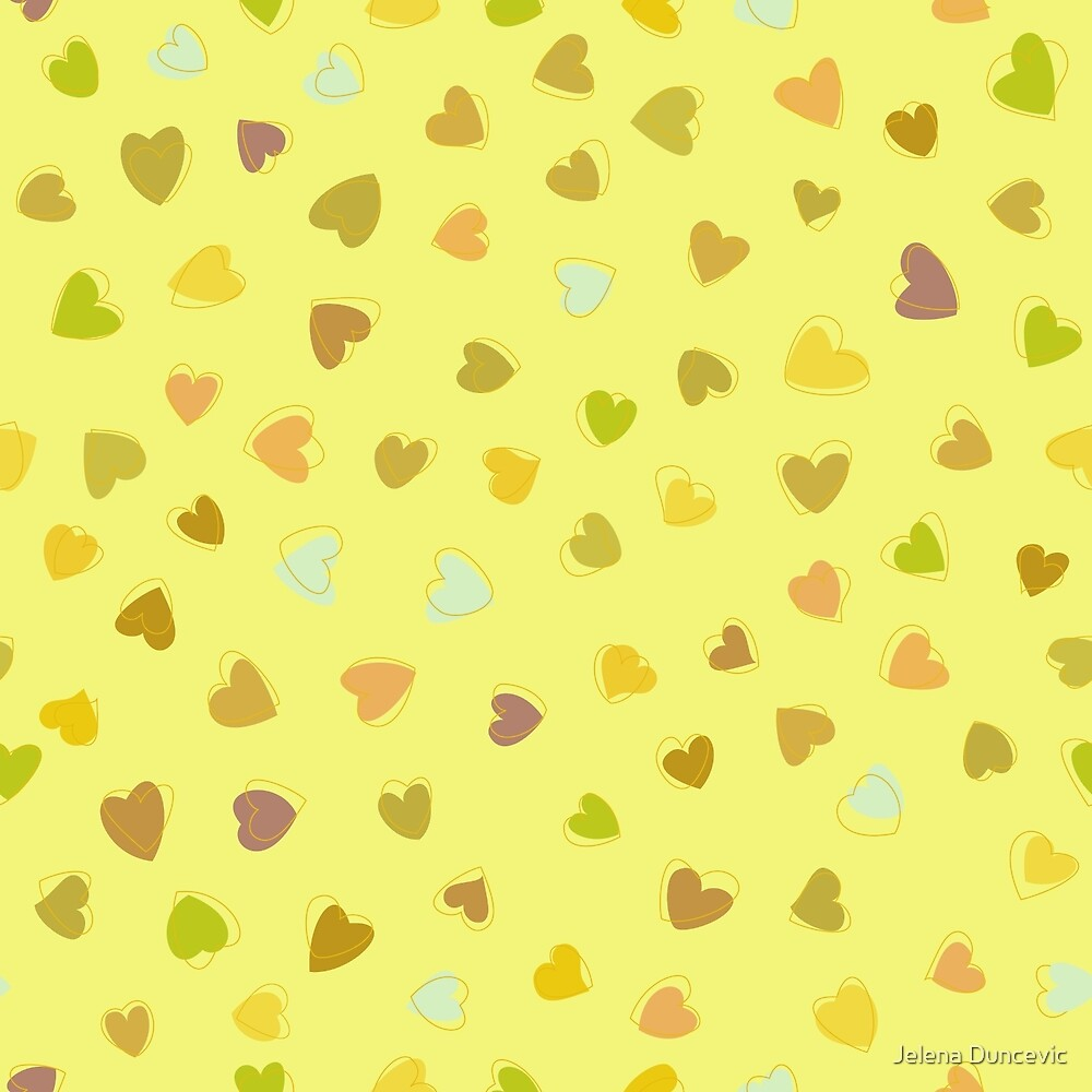 Love, Romance, Hearts - Yellow Green Brown Blue  by sitnica