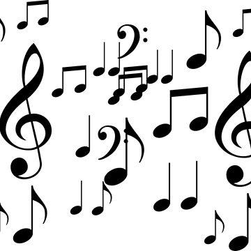 Monochrome Musical Notes Music Sheet by CreativeBridge