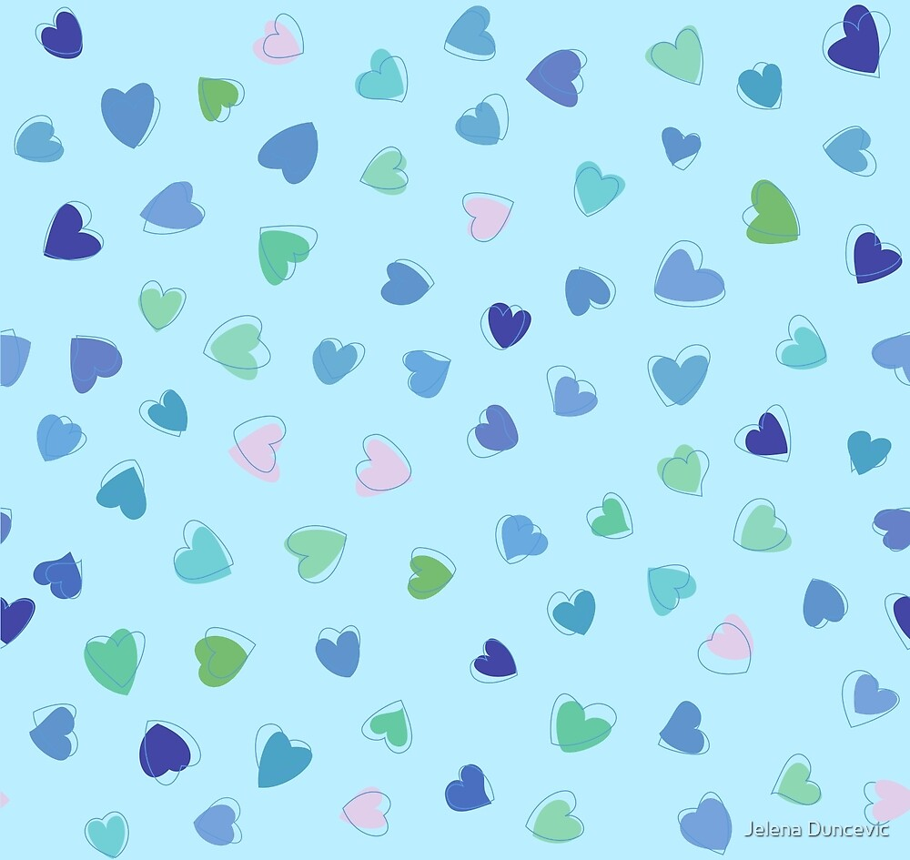 Love, Romance, Hearts - Blue Green Pink  by sitnica