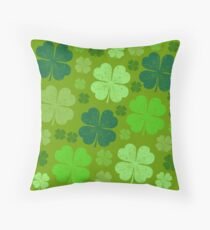 Saint Patrick's Day, Four Leaf Clovers - Green Throw Pillow