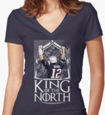 Tom Brady King Of The North New England Patriots Football Shirt Women's Fitted V-Neck T-Shirt
