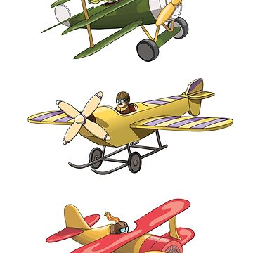 Cartoon Retro Red, Green and Yellow Planes by illumylov