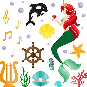 Mermaid, killer whale, harp, notes, seashells and others. by Afone4ka