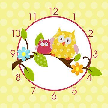 Happy Tree Owls Clock (Yellow) by JessDesigns