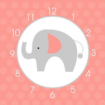 Mod Gray Elephant Coral Nursery Wall Clock by JessDesigns