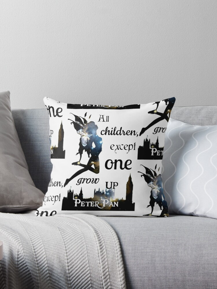 Peter Pan Print All Children Except One Grow Up Throw Pillows