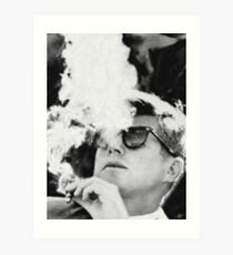John F Kennedy Cigar and Sunglasses Black And White Art Print