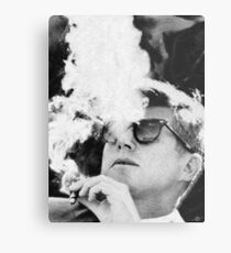 John F Kennedy Cigar and Sunglasses Black And White Metal Print