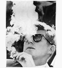 John F. Kennedy Zigarre und Sonnenbrille schwarz und weiß Poster