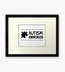 Autism Awareness in Black Framed Print