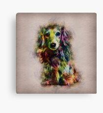 Dachshund Puppy Sketch Paint Canvas Print